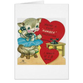 Cartão Vintage que chama namorados do gatinho