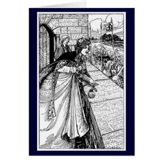 Cartão Vintage - rei Arthur Vista Guinevere