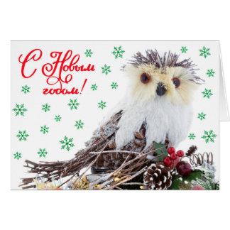 Cartão Vintage sábio da coruja do ano novo do Natal