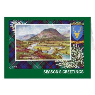 Cartão Vintage Scotland, cumprimentos das estações,