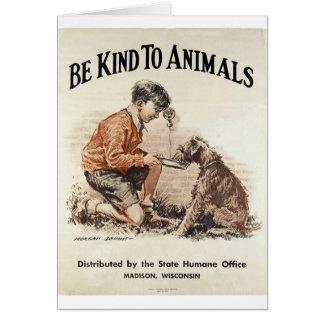 Cartão Vintage - seja amável aos animais,