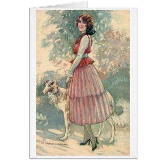 Cartão Vintage - senhora bonito Walking Ela Cão,