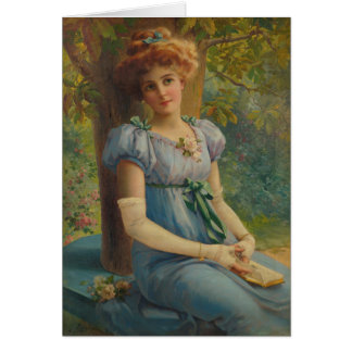 Cartão Vintage - senhora Daydreaming,