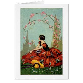 Cartão Vintage - senhora do art deco no vermelho,