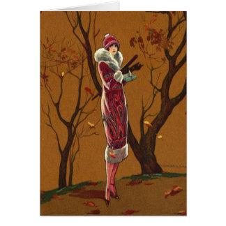 Cartão Vintage - senhora do outono,