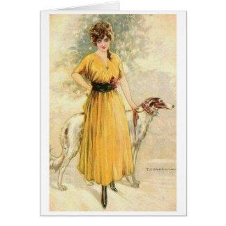Cartão Vintage - senhora no amarelo com Borzoi,