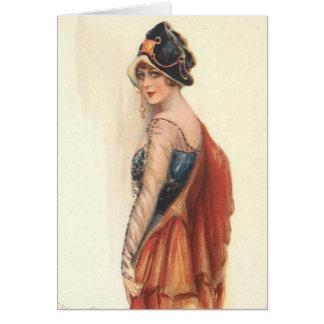 Cartão Vintage - sobre o relance do ombro,