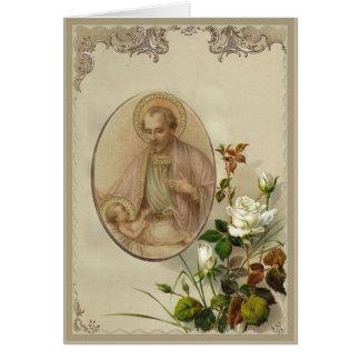 Cartão Vintage St Joseph com bebê Jesus