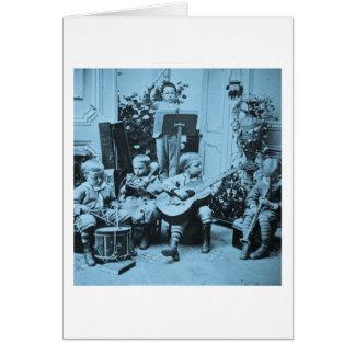 Cartão Vintage Stereoview Cyanotype da orquestra dos