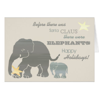 Cartão Vintage tipográfico dos elefantes do Natal do