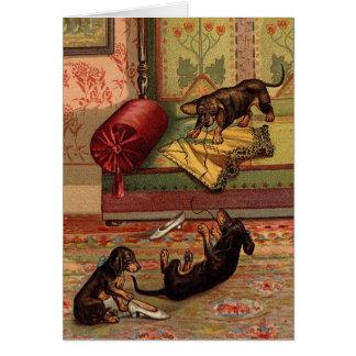 Cartão Vintage - três Dachshunds perniciosos,