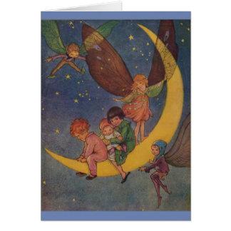 Cartão Vintage - um passeio da lua na noite,