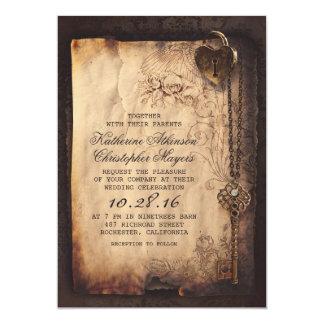 Cartão Vintage velho da chave de esqueleto e casamento