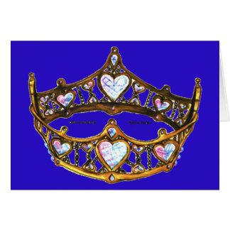 Cartão Violeta azul da tiara da coroa do ouro amarelo dos