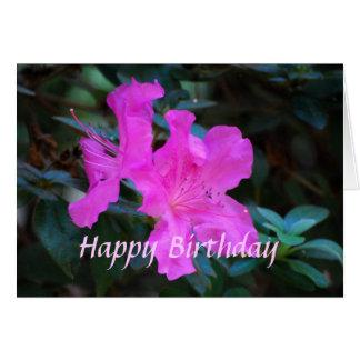 Cartão violeta das azáleas do feliz aniversario