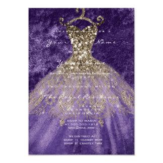 Cartão Violeta nupcial do ouro da aguarela do brilho do