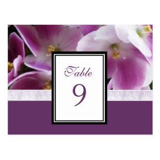 Cartão violeta roxo do número da mesa