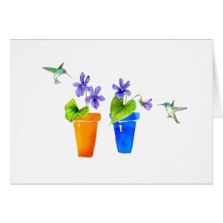 Cartão Violetas e colibris