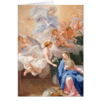 Cartão Virgem Maria abençoada anjo do aviso