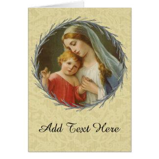 Cartão Virgem Maria abençoada com bebê Jesus
