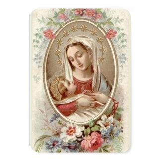 Cartão Virgem Maria abençoada com bebê Jesus & flores