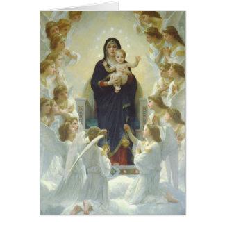 Cartão Virgem Maria com bebê Jesus e anjos