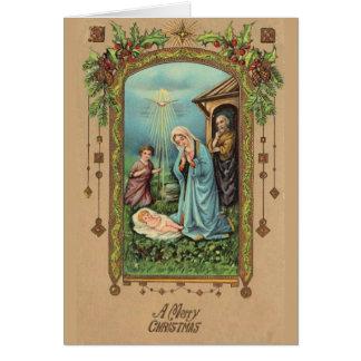 Cartão Virgem Maria da natividade do natal vintage