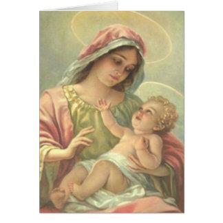 Cartão Virgem Maria do BAPTISMO da MENINA com a criança