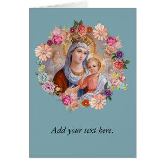 Cartão Virgem Maria do vintage com os rosas dos anjos de