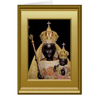 Cartão Virgem Maria e criança pretas Jesus