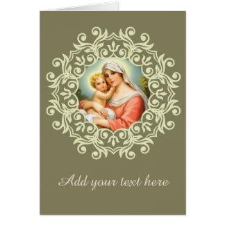 Cartão Virgem Maria Madonna com laço de Jesus do bebê