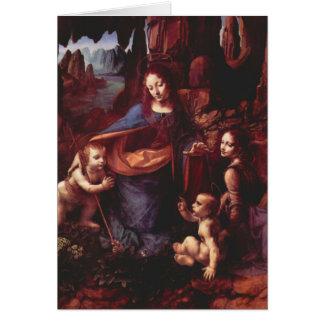 Cartão Virgin das rochas pelo Natal de Leonardo da Vinci