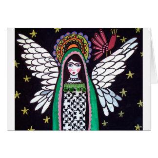 Cartão Virgin do anjo da arte de Guadalupe pela urze