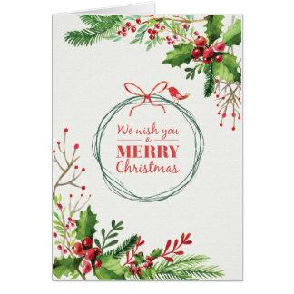 Cartão Visco pintado aguarela do Feliz Natal