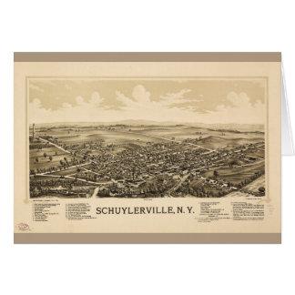 Cartão Vista aérea de Schuylerville, New York (1889)