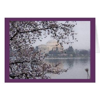 Cartão Vista artística das flores de cerejeira na bacia