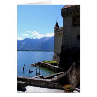 Cartão Vista de Castelo de Chillon