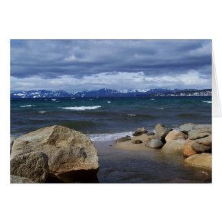 Cartão Vista de Lake Tahoe no inverno