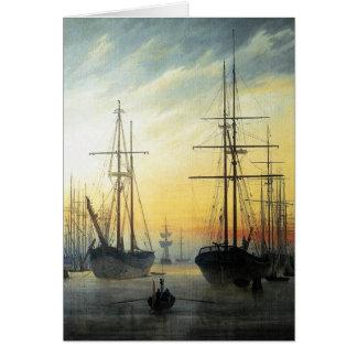 Cartão Vista de um porto - Caspar David Friedrich