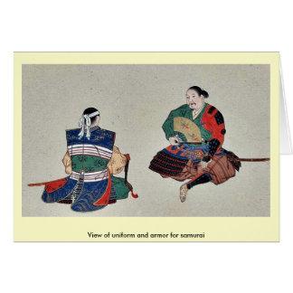 Cartão Vista do uniforme e da armadura para o samurai