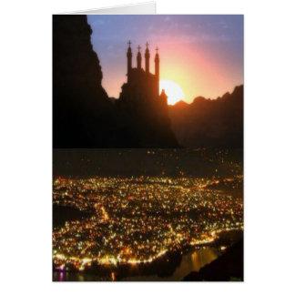 Cartão Vistas de Nepal na maneira a MONTE EVEREST