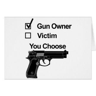 Cartão vítima que do proprietário de arma você escolhe