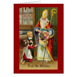"""Cartão """"Vive vintage francês do St. Nicolas"""""""
