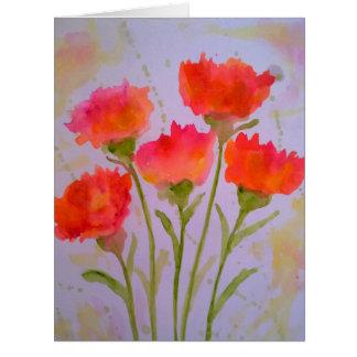 Cartão vívido de 5 flores da aguarela por Julie