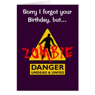 Cartão Vivo do zombi e aniversário Unfed