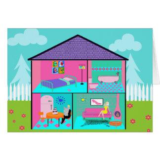 Cartão vivo retro da casa de boneca