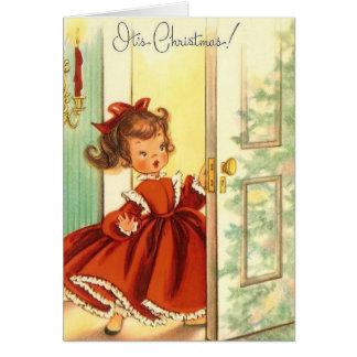 Cartão Vntage pouca menina do Natal no vestido vermelho