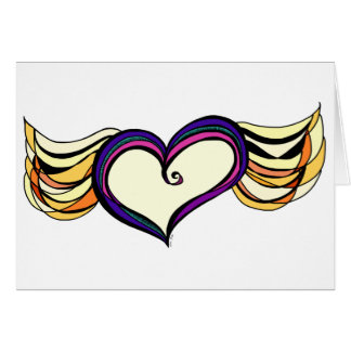 Cartão voado do coração