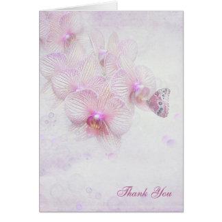 Cartão você-borboleta do obrigado na orquídea