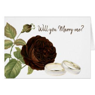 Cartão Você casar-me-á, castanho chocolate aumentou